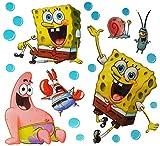 Set: 3-D XL-Wandtattoo / Fensterbild / Sticker - Spongebob Robert Schammkopf - Patrick Seestern - für Kinder Mädchen Jungen - Pop up - wasserfest - selbstklebend Pop-Up Aufkleber Wandsticker