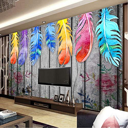 Fushoulu personalizzato qualsiasi dimensione 3d murales wallpaper carta da parati moderna dipinta a mano in legno piume colorate arte astratta pittura murale decor-280x200cm