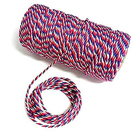 G2Plus300FeetCraft BakersTwine Garden Thread DurableTagsTieLabelsStringSpoolforDIYCrafts and HandmadeArts (Blue Red and White (Mano A Filo)