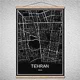 TIANLIANG Blättern Sie Können Zeichnungen Öl Malerei Welt Stadtplan Moderne Poster Leinwand Abstrakte Bild Drucken Mit Rahmen, Teheran, 42 X 30 cm Ohne Rahmen.