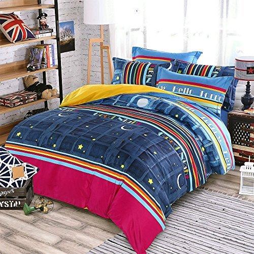 KFZ City Night Kinder Bettwäsche Set Bettbezug (ohne Einsatz) Bettlaken und Doppelbetten Kissen involviert (blau, Twin)