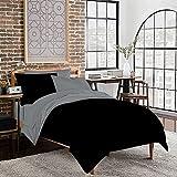 Twin XL Dorm Room Reversible Duvet Bedding Set - Soft & Comfy 100% Cotton- By sportstimedestiny (Twin XL, Grey/Black)