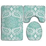 Bad Teppich Set, Paisley Floral Print Mint grün Rutschfest Flanell Contour Teppiche, Antibakteriell WC-Matte für Männer Frauen Kinder, Badezimmer Teppiche, Badezimmer Zubehör