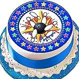 Essbarer Kuchenaufsatz zur Dekoration von Kuchen und Torten, mit Bowling-Motiv, vorgeschnitten, blau, 19cm