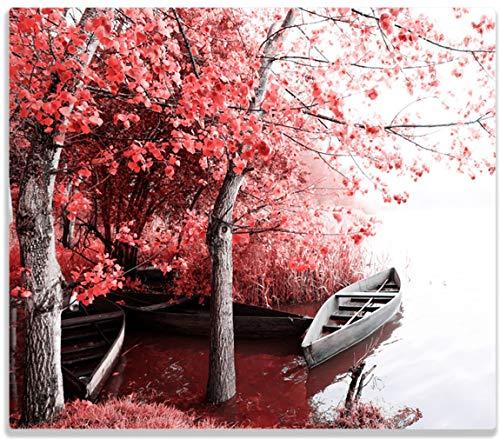 Wallario Herdabdeckplatte/Spritzschutz aus Glas, 1-teilig, 60x52cm, für Ceran- und Induktionsherde, Romantische Bootsanlegestelle in rot-weiß (Boot-gummi-fuß-abdeckung)