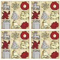com-four® 108 Piezas dispersas en Varios diseños navideños de Madera (108 Piezas - Cuadros de Madera)