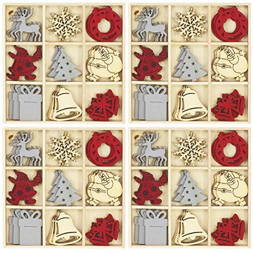 com-four® 108 Piezas dispersas en Varios diseños navideños de Madera (108 Piezas...