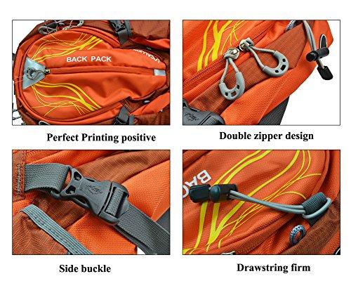 Fahrrad Rucksack für Wandern, Reisen, Klettern, Camping, wasserdicht Unisex-Taschen mit Wasser Tasche Orange