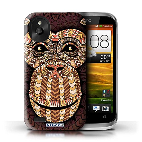 Kobalt® Imprimé Etui / Coque pour HTC Desire X / Loup-Vert conception / Série Motif Animaux Aztec Singe-Orange