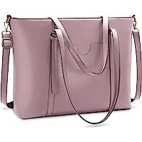 NUBILY Handtasche Shopper Damen Groß 15.6 Zoll PU Leder Shopper Blass lila Laptop Umhängetasche Gross Business…
