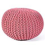 Moro Strick Hocker Pouf Markenware Rug Republic Bodenkissen Sitzkissen 100% Baumwolle 100% Polystyrol Coral 55cm Durchmesser
