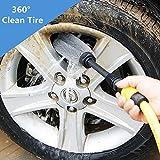 Cepillo de limpieza para automóvil, rotación automática Coche Cepillo De Lavado Limpiador Cepillo de rueda de neumático taladro herramienta de limpieza, cepillo para llantas de ruedas, antiarañazos, motocicletas, bicicletas
