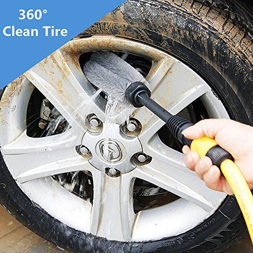 Spazzola di pulizia per auto - rotazione automatica - non graffia - adatta anche per la pulizia dei cerchioni - per ruote, cerchi, moto, bici