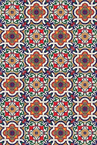 Arredo carpet tappeto passatoia in vinile multi ambiente con maioliche azulejos portoghesi rosso in fantasia amsterdam 50x300