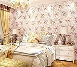 TX NEIYI Europäische Hochwertige Geschnitzte Garten Blumen Vlies Mode Einfache Tapete Schlafzimmer Wohnzimmer Sofa TV Hintergrund Schönheitssalon Tapete,Pink