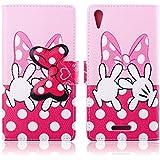 Dokpav® Sony Xperia T3 Funda,Ultra Slim Delgado Flip PU Cuero Cover Case para Sony Xperia T3 con Interiores Slip compartimentos para tarjetas-Cartoon pink bow