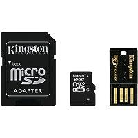 Kingston Mobility Kit Scheda di Memoria Micro-SDHC/SDXC da 16 GB con Adattatore SD e USB, Classe 4, Nero