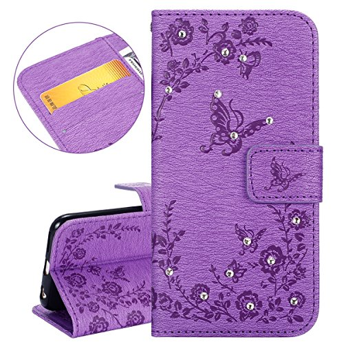 Custodia iPhone 6, ISAKEN Custodia iPhone 6S, iPhone 6 Flip Cover, Elegante borsa Dente di leone Design Custodia in Pelle Protettiva Portafoglio Case Cover per Apple iPhone 6 4.7/ con Strap / Support Diamante: violet