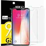 NEW'C Verre Trempé pour iPhone X, iPhone XS,[Pack de 2] Film Protection écran - Anti Rayures - sans Bulles d'air -Ultra Résistant (0,33mm HD Ultra Transparent) Dureté 9H Glass