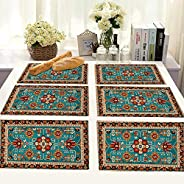 Brick Home Flower Border Ethnic Digital Printed Table Mat (Set of 6) (Multicolor)