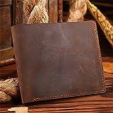 WanJiaMen'Shop Männer Portemonnaie Vintage Geldbeutel Wallet Card Tasche Geldscheinklammer Leder Freizeit Wallet 9,5 * 11,5 cm