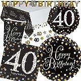 XXL kit de Party * Sparkling Celebration * pour le 40ème anniversaire/bannière/avec assiettes + Mug + Serviettes + Nappe + confettis + + Ballon Gonflable//Kit de Party Devise Quarante