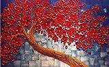 Wh-Porp Benutzerdefinierte Wallpaper Home Dekorative Wandbilder Rote Blumen Machen Geld Baum Ölgemälde Tv Sofa Hintergrund Wall 3D Wallpaper-200Cmx140Cm