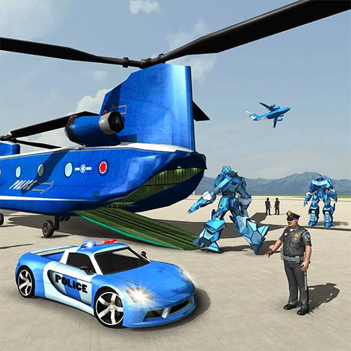 US-Polizei transformieren Roboter Auto Transport Spiel - Helikopter Transporter Simulator 2018