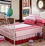 GAIHU Baumwoll Bettsatz von 4 Hochzeits-Vorräte Kit Bett Rock Quilt Cover (Blau),Pink,2.0M