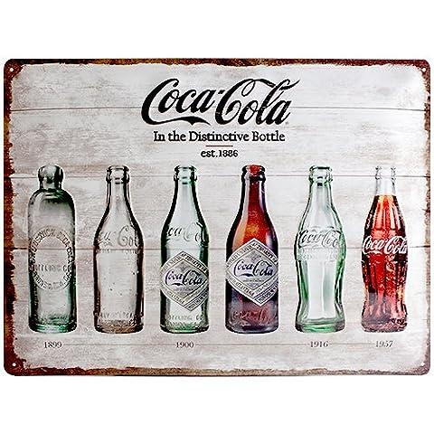 Nostalgic art 23207 coca-cola bottle timeline affiche sur tôle en fer blanc 30 x 40 cm