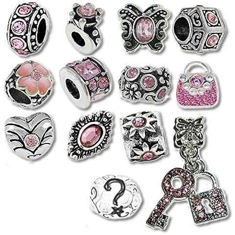 Pink Monatsstein Beads und Charms kompatibel mit Pandora Armbändern