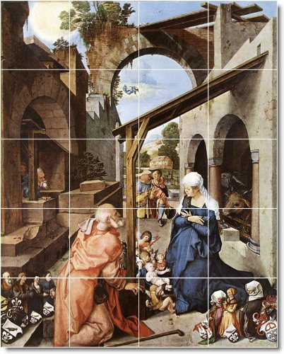 ALBRECHT DURER RELIGIOSO BACKSPLASH AZULEJO MURAL 29  24 X 76 2 CM CON (20) 6 X 6 AZULEJOS DE CERAMICA