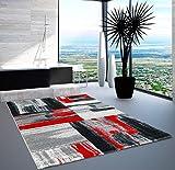 carpet city Teppich Modern Designer Wohnzimmer Shake Farbverlauf Rot Grau 160x230 cm