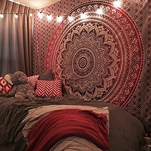 Exclusivo tapiz por Raajsee, diseño mándala, ropa de cama, multicolor, indio, hippy, para colgar en pared, colcha bohemia, algodón, Rojo, 220*240cms