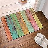 Nyngei Papier peint Vintage Artwork coloré peint sur tapis de bain en bois anti-dérapant étage portes d'entrée en plein air tapis de porte d'entrée 60X40 CM tapis de bain tapis de bain