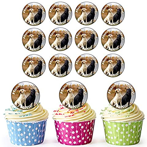 Labradors 24 Personalised Edible Cupcake Toppers / Birthday Cake Decorations - Easy Precut Circles