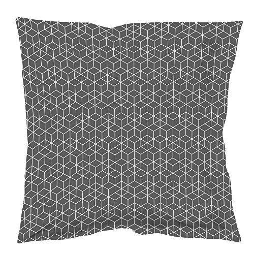 Douceur d'Intérieur OPTIC Taie Oreiller Volant Plat Coton Anthracite/Blanc 63 x 63 cm
