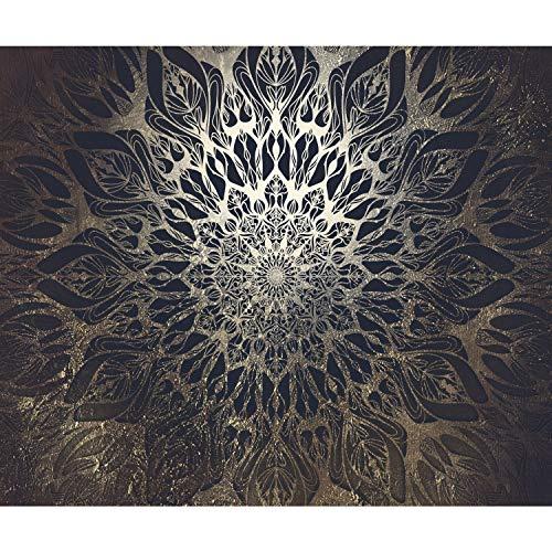 decomonkey | Fototapete Mandala Modern 400x280 cm XL | Tapete | Wandbild | Bild | Fototapeten | Tapeten | Wandtapete | Wanddeko | Orient Zen Gold Beige Schwarz