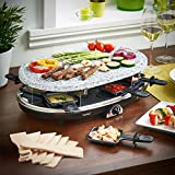 VonShef 8 Person Natural Stone Raclette Grill with Variable Temperature Control includes 8 Spatulas & 8 Mini Pans