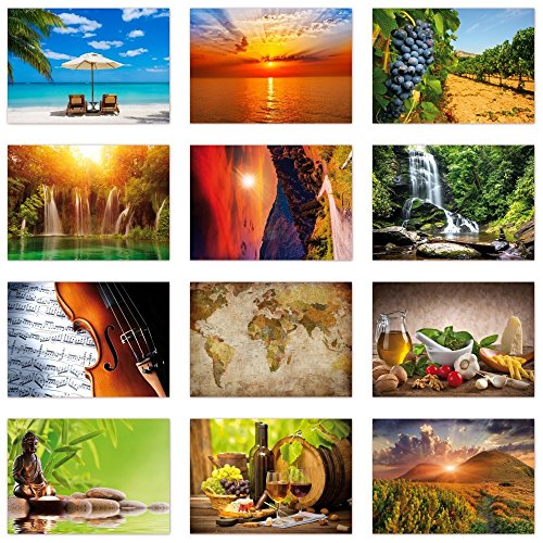 12 Stück Postkarten MIX - Set aus verschiedenen Motiven mit Natur, Wellness, Weltkarte, Küche, siehe Abbildung - Format: DIN A6 ( PKT-008 ) (Postkarte Natur)