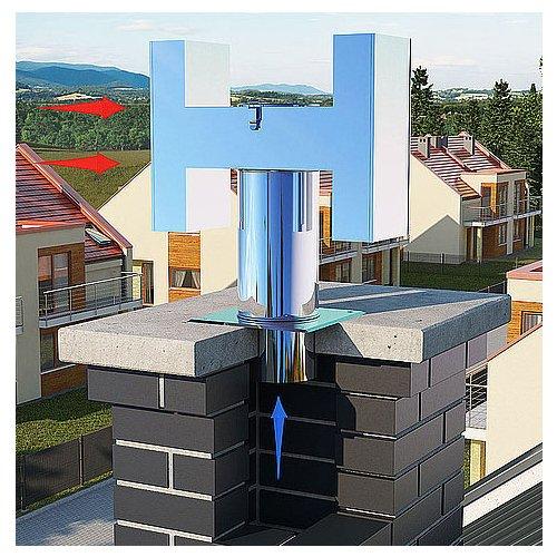 Acier inoxydable h-type statique cheminée capot échappement projet de mettre fin à 130mm