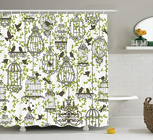 Bronze Ivy Leaf (Vintage Decor Collection, Antique Lovely Birdcages on Ivy Leaf Love Couple Escape Freedom Modern Illustration, Polyester Fabric Bathroom Shower Curtain, 60 x 72 Inches, Navy Green)