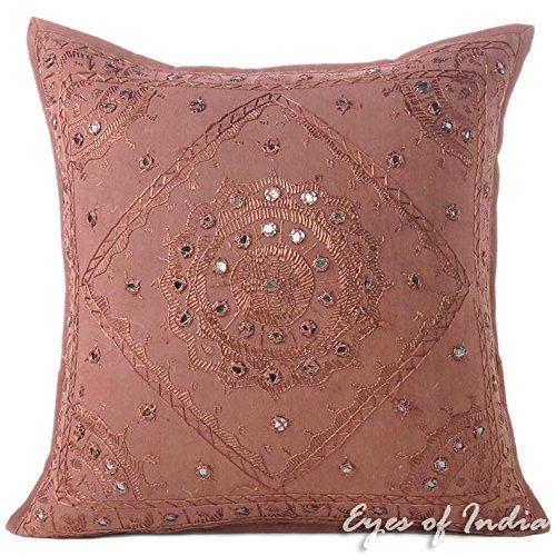 Eyes of India - Spiegel Bestickt Dekorativ Sofa Couch Kissenbezug Überwurf Unkonventionell Boho Bunt Indisch Deckel - Braun, 16 X 16 in. (40 X 40 cm)