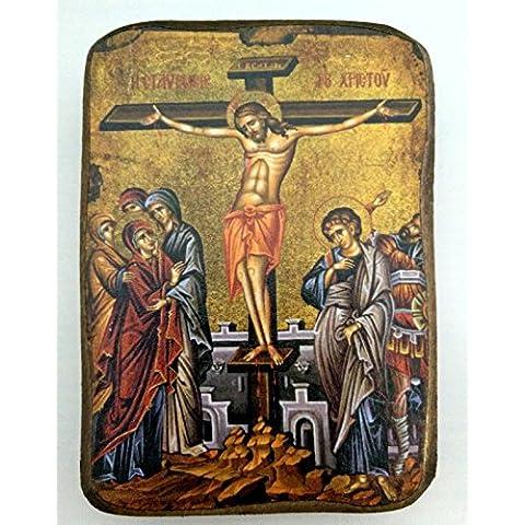 In legno greca cristiana ortodossa legno icona della crocifissione/A0