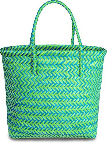 normani Einkaufskorb geflochten - wasserabweisend und robust Farbe Long Beach/Green/Blue