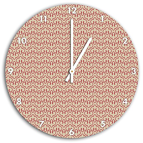 modèle icônes rouges Beige, horloge murale diamètre 30 cm avec aiguilles et cadran pointus blancs, article décoratif, horloge design, composite alu très belle pour le séjour, la chambre d'enfant, le bureau