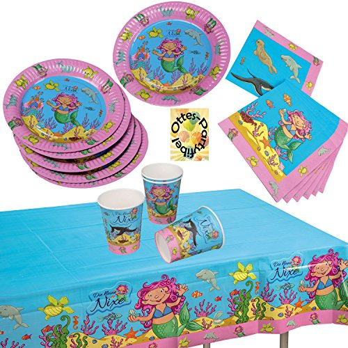 jungfrau Mermaid Partyset 37tlg. für 8 Kinder Teller Becher Servietten Tischdecke ()