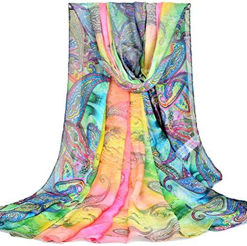 PB-SOAR XXL Damen Paisley Sarong Pareo Strandtuch Wickelrock Wickeltuch Schal Halstuch, weich und leicht (Farbe 1) (Sehr Blumen-mädchen-kleider Schickes)
