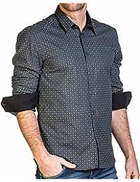 BLZ jeans - Chemise homme grise à motifs manches longues