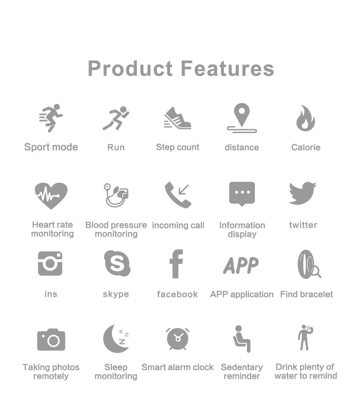BATHRINS Pulsera Inteligente de Seguimiento de Fitness, M3 IPS, Pantalla Impermeable IP68 Pulsera de Actividad con Monitor de presión Arterial de precisión HR para Android iOS 2